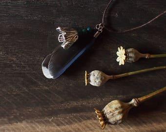 feather and flower pendant, necklace pendant, boho pendant