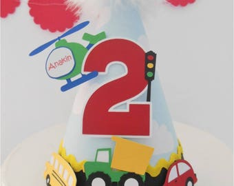 Lil' Transportation Party Hat - Blue Clouds, Red, Green, Yellow, Black - Personalized - Car, Helicopter, Plane, Bus