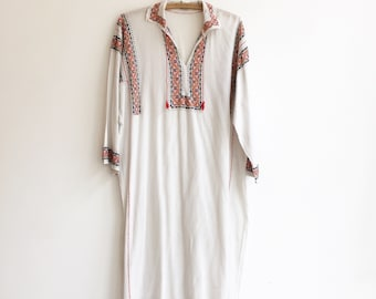 Vintage romanian hungarian cotton embroidery hippie boho folklore dress tunic S/M