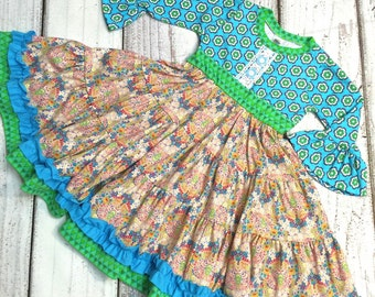 SALE •size 6T• Knit Top Blue Twirl Dress