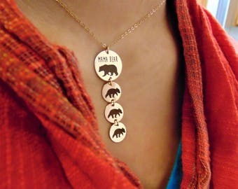 Mama Bear And Baby Bear Necklace & Pendants In Sterling Silver Add a Baby Bear