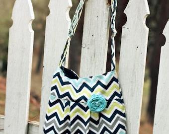 Chevron Handbag, Small Cross Body Handbag, Navy, Aqua, Grey, and Green, Seahawk Colors, Cute Chevron Bag, Cute Handbag, Purse, Chevron