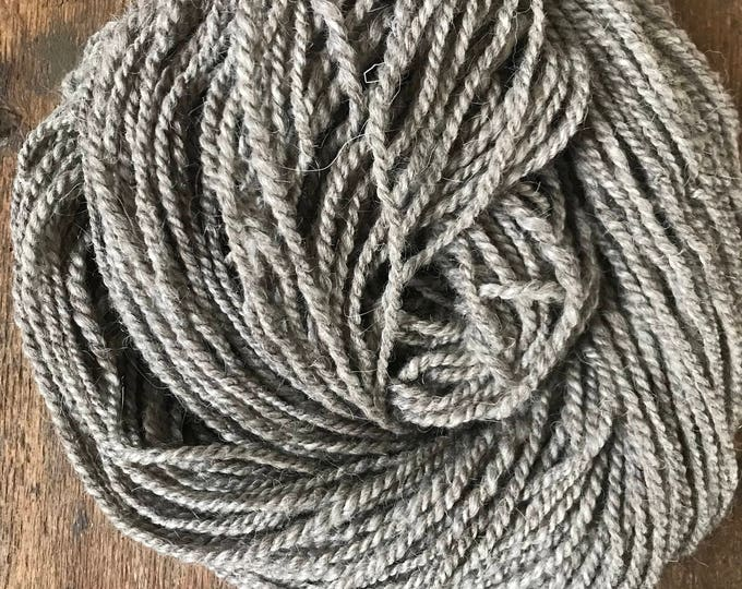 Hoarfrost, 132 yards, light bulky weight handspun yarn, undyed grey yarn, natural grey yarn, grey weaving yarn, rustic handspun yarn