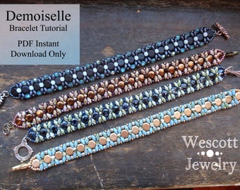 Pattern for Demoiselle Bracelet with Honeycomb Beads or DiscDuo Beads and SuperDuo Beads