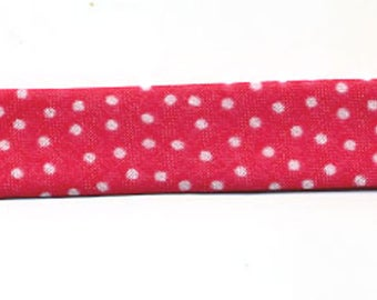 Fancy pink Fuchsia with meter, small white polka dots, 100% cotton