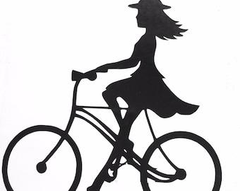 DIY Girl on Bike Vinyl Decal, Summer Breeze Bike Ride, Silhouette, Car Window Decal, Laptop Decal, Tablet Decal, Drinkware, Cell Phone Decal