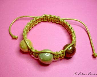 Fancy gold leather macramé bracelet and ceramic beads - shambal