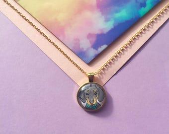 Dachshund Necklace - Sausage Dog - Caricature - Pendant - Cameo - Jewellery - Illustration - Illustrated Jewellery - Dog Necklace - Gold