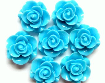 6 Cabochon roses  Turquoise blue resin bobby pin flowers 20mm 10mm Ho57