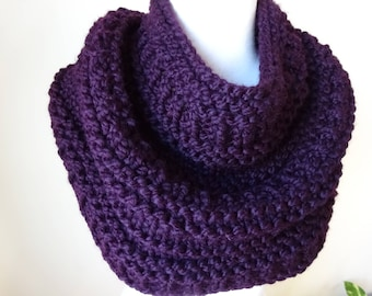 Knit Cowl, Chunky  Cowl, Infinity Scarf, Circle Scarf, Neck Warmer, Snood, Textured Cowl in Eggplant Purple - Ready to Ship Gift for Her