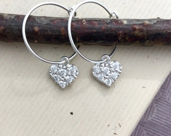 Cubic zirconia pave heart earrings, all sterling silver, hoop ear wire, CZ 925 silver jewelry E231H