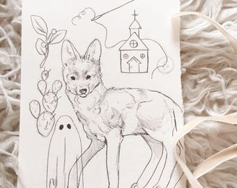Original Coyote Ghost Church Drawing - Desert Themed Sketch