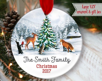 """LARGE 4.25"""" Family Christmas Ornament Woodland animals around the tree Personalized Christmas Ornament Woodland deer fox mdf wood OR979"""