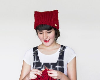 Cat Knit Hat - Ears Beanie -Knit Cat Beanie - Women's Hat - Knit Cat Ear Hat - Cat  Beanie - Animal Ears Hat  in Dark Red | The Or...