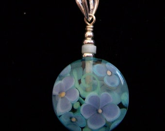 Sapphireskies Sterling Silver Whimsy Flowers Lampwork & Amazonite Pendant