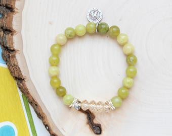 Good Deed Bracelet. Positive Energy Jewelry. Green Beaded Bracelet. Inspirational Bracelet. Made in America. Gift for Her