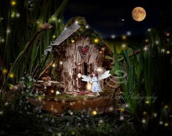 Fairy Garden Print, Fairy House, Fairy Princess, Whimsical Fairy, Fireflies, Little Girl's room, Fantasy Art, Nursery Decor, Magical Art