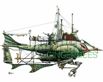 "1 of 12 Fanciful Submarines, Giclee Print on Fine Art Smooth Paper(16""x12"")"
