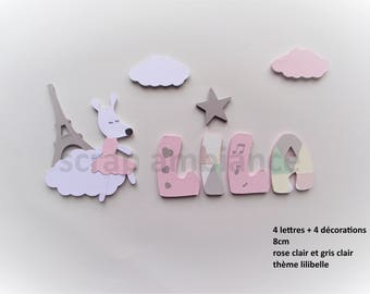 wood letter name / name to stick / wooden name / door / to stick letter / letters / lilibelle THEME