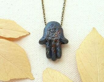 Hamsa necklace hand of fatima evil eye necklace protection amulet hamsa hand necklace spiritual jewelry