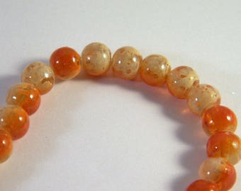 10 glass 8 mm clear 2 tones orange CR2 extruded beads