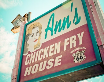 Route 66 Neon Sign Vintage Retro Roadside Oklahoma City - Fine Art Photograph - Ann's Chicken Fry House
