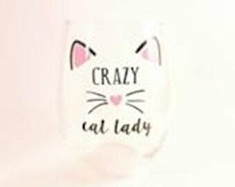 Crazy Cat Lady Stemless Wine Glass - 17oz