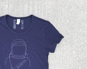 Feminist Astronaut Shirt, Inspirational Gift for Girls, Outer Space Astronomy Universe Navy Blue Graphic Tee Tshirt Women, BlackbirdSupply