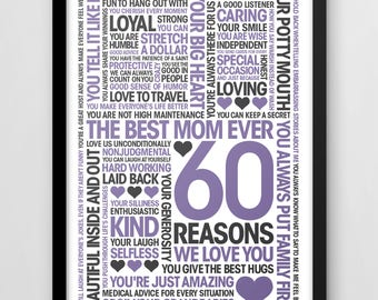 60th Birthday Print, 60 Reasons We Love You, Personalised print, Custom design, mums 60th,
