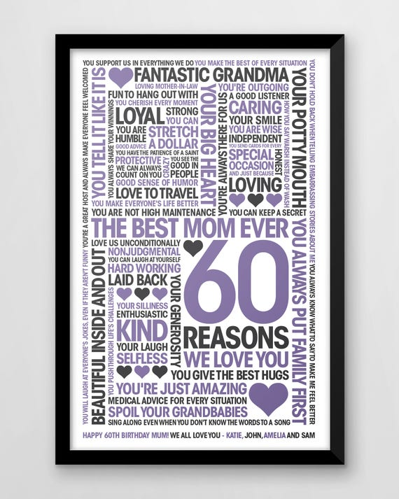 60th Birthday Print 60 Reasons We Love You Personalised