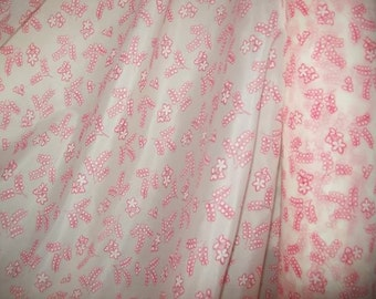 a lovely vintage nylon fabric, pink flowers,