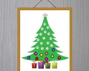 Advent Calendar Christmas Tree Advent Calendar Printable Countdown Christmas Advent Calendar Digital Instant Download Clipart