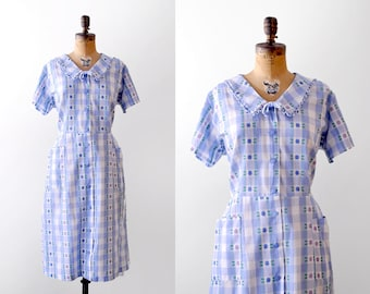 50's blue plaid dress. gingham. 1950's xl dress. cotton pastel blue & white. floral.