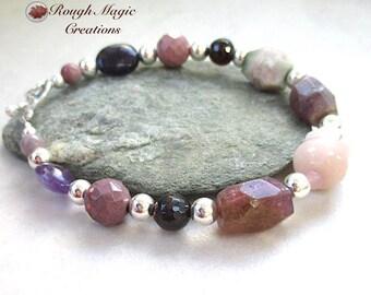 Semi Precious Gemstone Bracelet, Dark Red Garnet, Purple Amethyst, Tourmaline, Rose Pink Jasper, Sterling Silver, Birthstone Jewelry B257