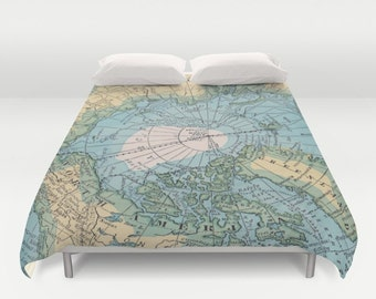 Arctic Map Duvet Cover or comforter - bed - blue, green, aqua, bedroom, travel decor, cozy soft, pastel, winter, warm, North Pole, Greenland