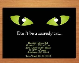 Scaredy Cat Halloween Party Customized Printable Invitations /  DIY