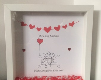 Personalised Valentines Anniversary Couple Stick People Frame