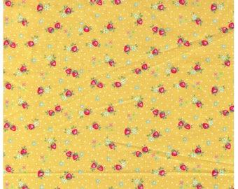 HALF YARD Yuwa - Petit Berry on Yellow - Atsuko Matsuyama 826346-C - Mini Petite Red Strawberries White Flowers - Japanese Import Fabric