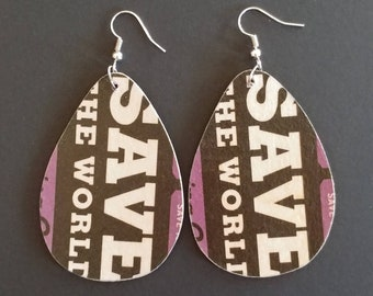 Repurposed Cardboard Craft Beer Coaster Earrings Save the World Brewing Company