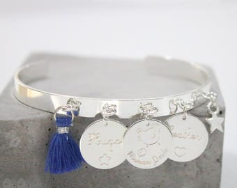 Bangle with engraving and tassel * custom Creation *.