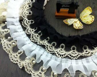 "5 yard 6.5cm 2.55"" wide black/ivory gold ruffled gauze beads tapes mesh lace trim ribbon 542a free ship"