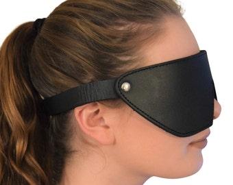 Genuine Leather Fleece-Lined Blindfold / Eye Mask