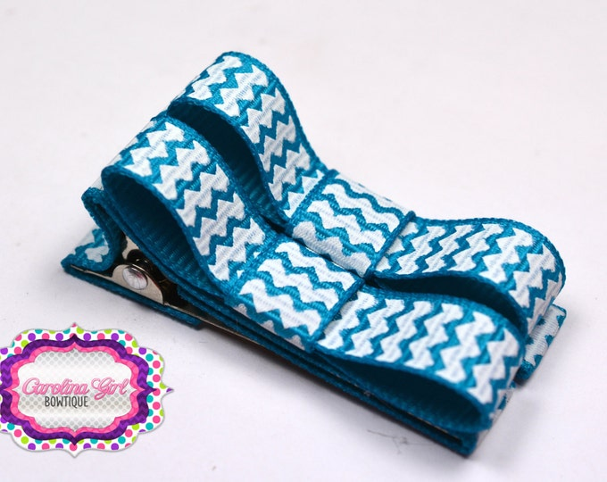 Turquoise Chevron Hair Clips Basic Tuxedo Clips Alligator Non Slip Barrettes for Babies Toddler Girl Set of 2