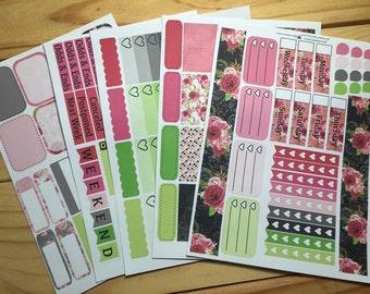 Vintage Rose Planner Sticker Kit - Perfect for Erin Condren, Plum Paper, Kikki K, Happy Planner, and more!