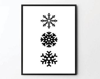 Minimalist Snowflake, Christmas Print, Christmas Poster, Christmas Decor, Holiday Gift, Winter Decor, Winter Gifts, Merry Christmas, Art
