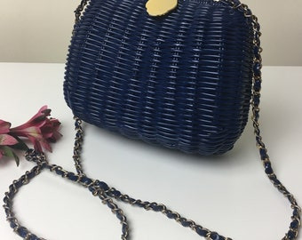 60's Navy Coated Wicker Chain Strap Purse