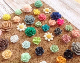 Floral Thumbtacks, Mix, Choose Your Amount, Push Pins, Decorative, Office Decor, Home Decor, Teacher, Teen, Gift, Flowers, PushPins, Planner