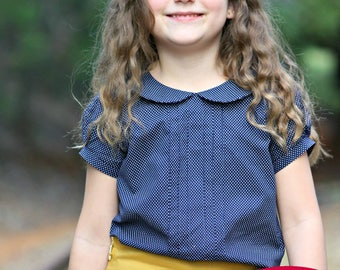Girls Toddlers Blouse PDF Sewing Pattern Peter Pan Collar size 2-10