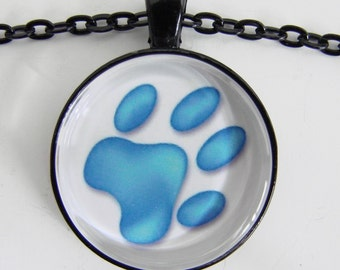 DOG'S PAW Necklace in blue and white, Puppy dog track, For dog lovers and the young at heart, Friendship token