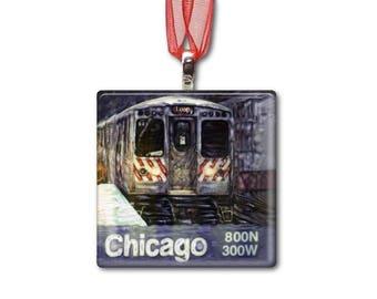 Chicago El Train - Handmade Glass Photo Ornament